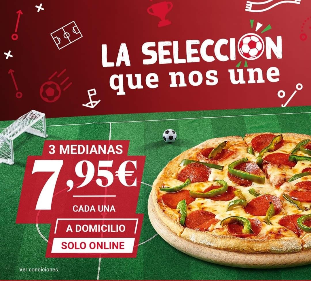 3 pizzas medianas a domicilio por 7.95 euros cada una en Telepizza