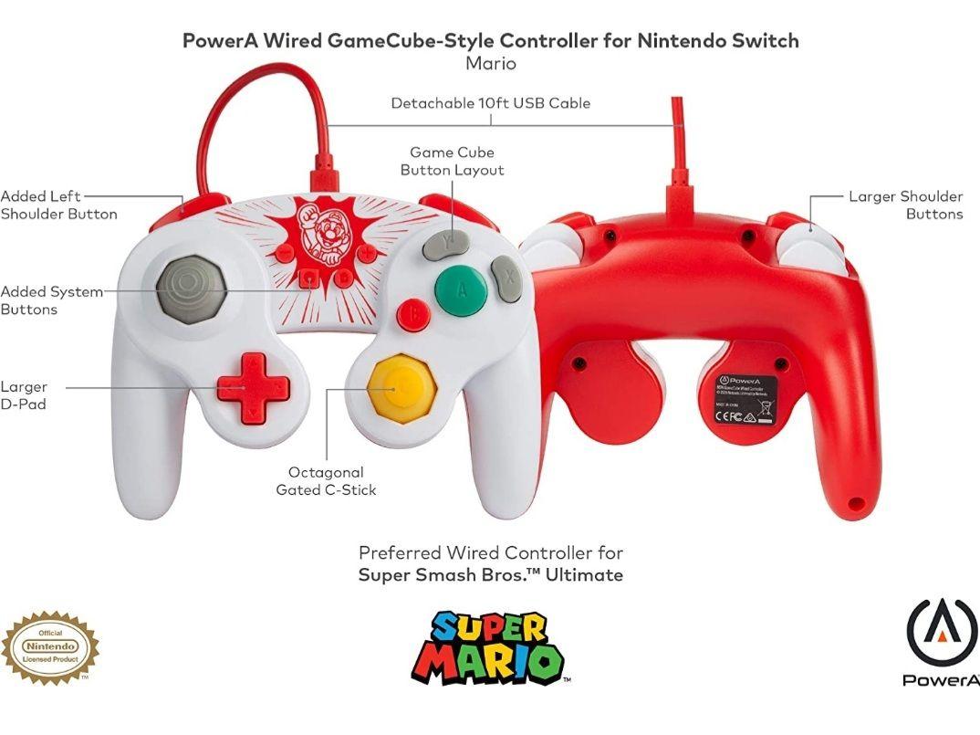 Mando PowerA Mario tipo GameCube Oficial (Switch)