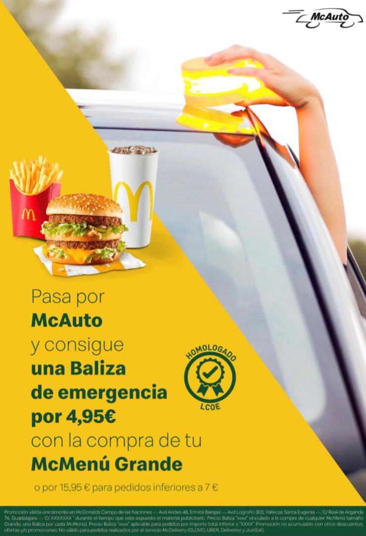 Baliza de emergencia con McMenú Grande + 4,95€ por McAuto (Av. de Logroño 303 y Av de Los Andes 46)
