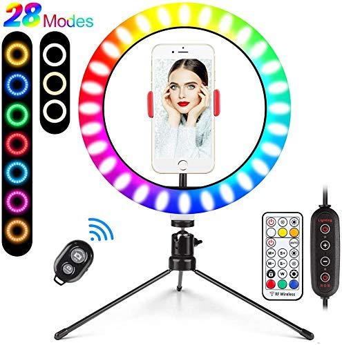 Aro de luz LED de colores con mini trípode y control remoto