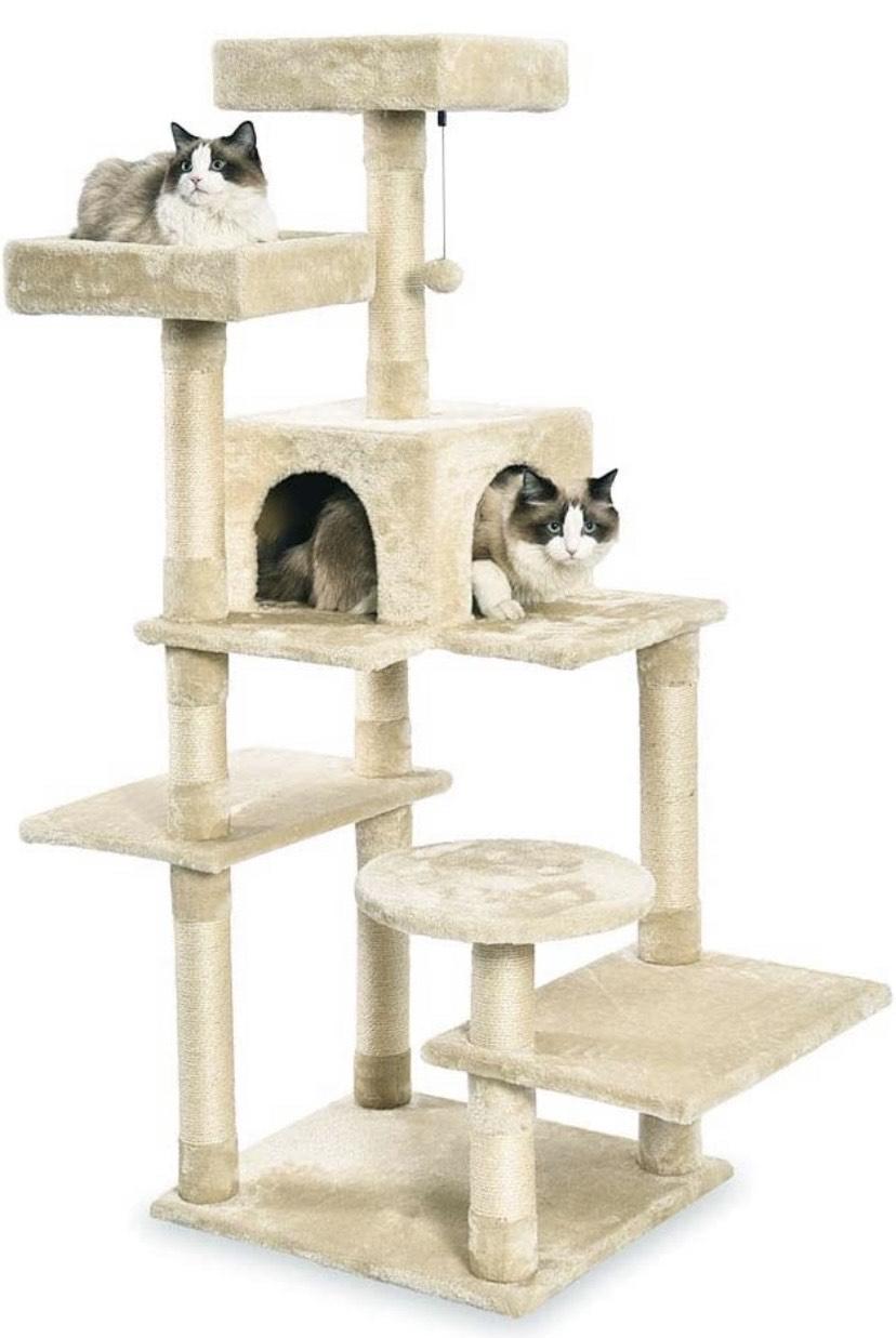 Torre en árbol con cerramiento para gatos, mediano, 55,9x147,3x48,3 cm