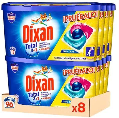 Dixan Detergente en Cápsulas para Lavadora Trio Caps Universal - Pack del 8x12D, Total 96 Lavados (compra recurrente)