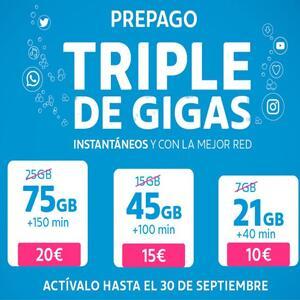 Movistar, triplica los gigas de sus tarifas de prepago (75, 45, 21 Gb)