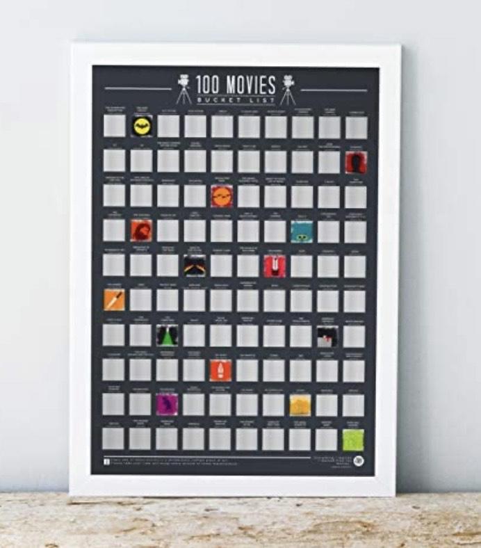 Póster para rascar con 100 películas