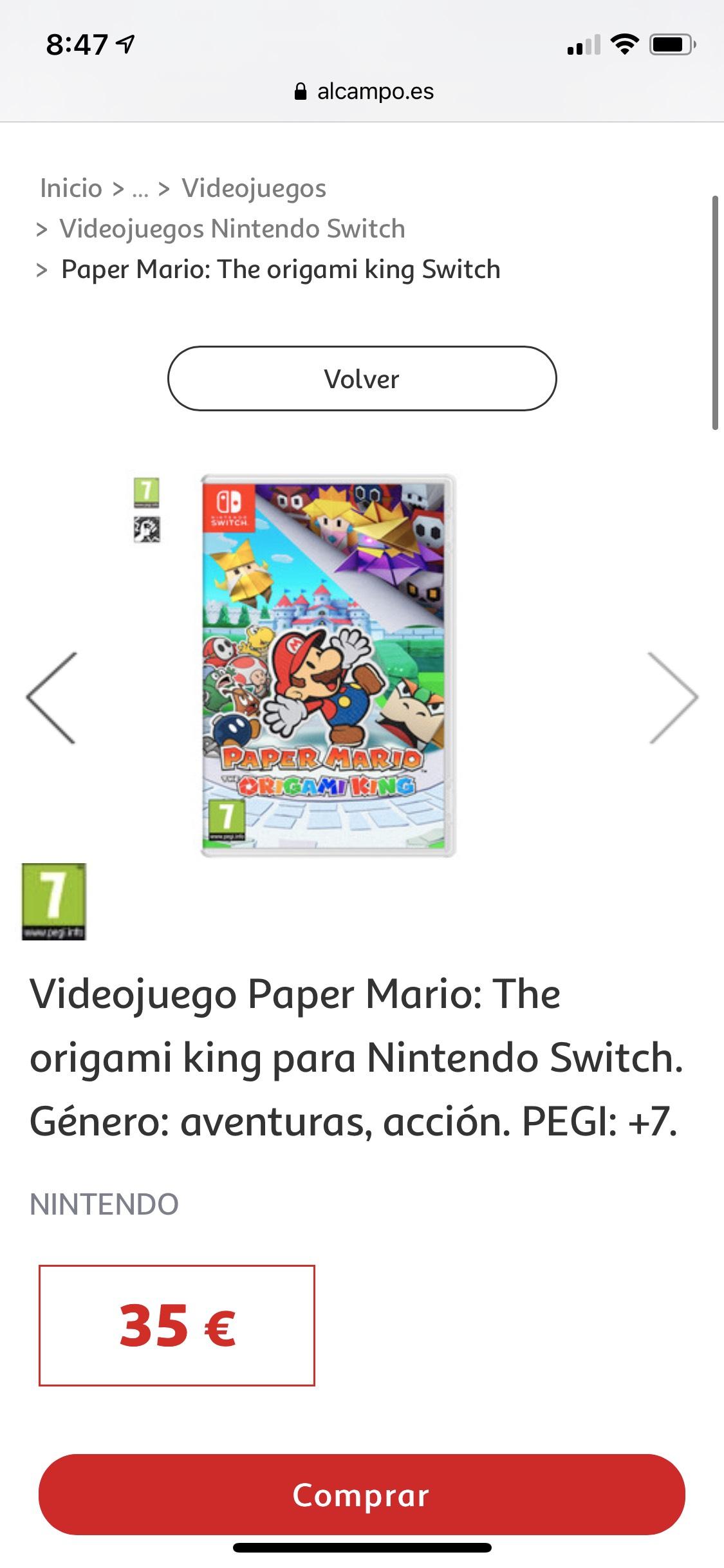 Paper Mario Nintendo Switch ( Alcampo Moratalaz)