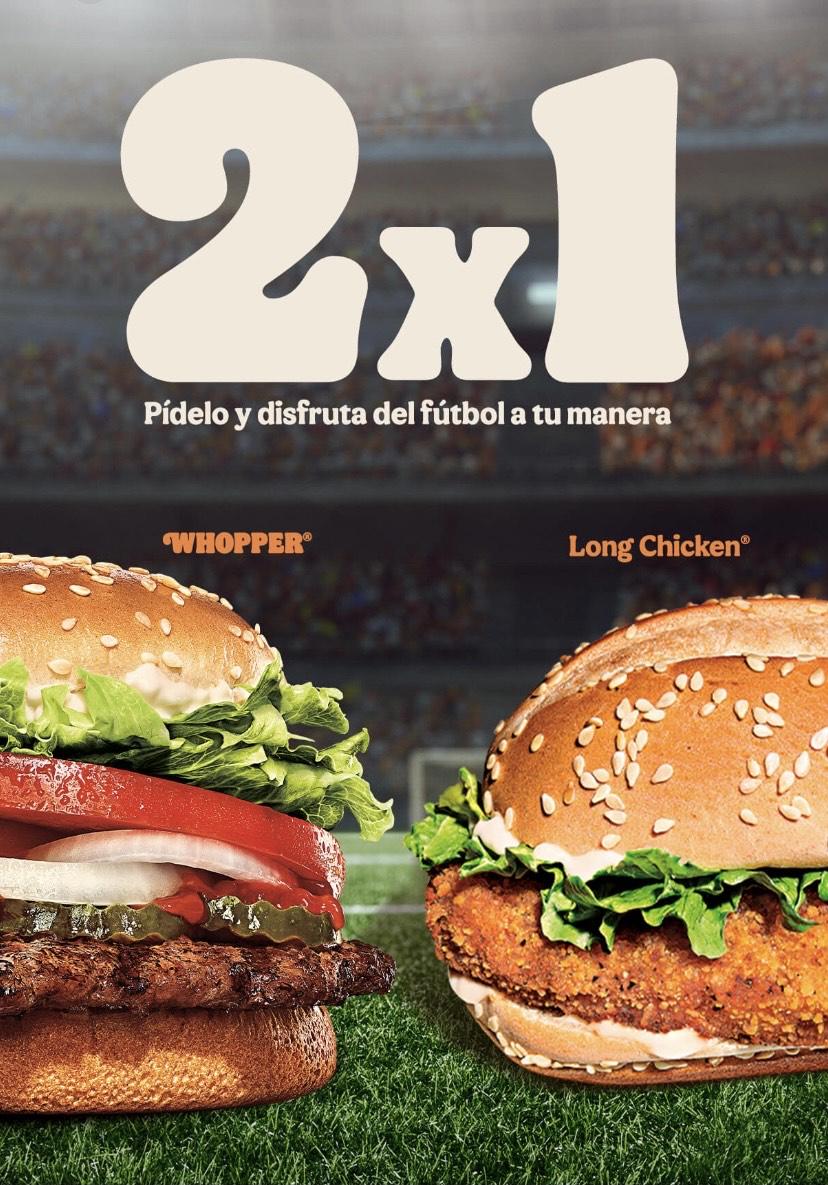 2x1 Whopper / Long Chicken a domicilio