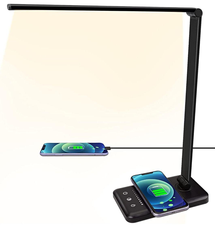 Lámpara de escritorio LED con cargador inalámbrico, 5 colores y 5 niveles de brillo