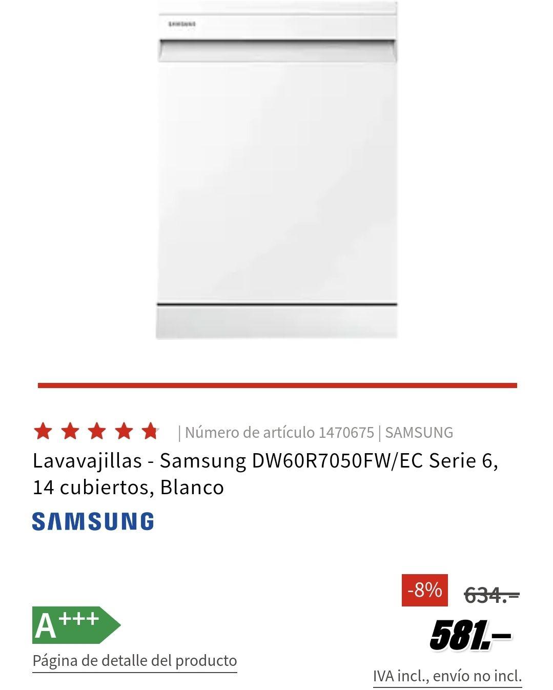 Reacondicionado Samsung DW60R7050FW/EC Serie 6, 14 cubiertos Blanco