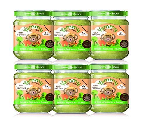 Yammy - Potito Comida Ecológica de Brócoli Espinacas Quinoa, 6 x 195g