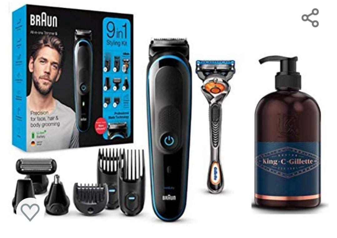 Braun MGK5280 9 en 1 - Máquina recortadora de barba, set de depilación corporal y cortapelos para hombre + King C. Gillette Gel