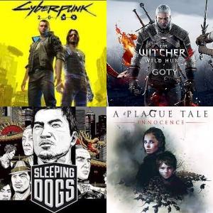 Cyberpunk 2077 14€, A Plague Tale: Innocence 4€, The Witcher 3: Wild Hunt GOTY 3€, Sleeping Dogs 0.99€ (PC, GOG RUS)
