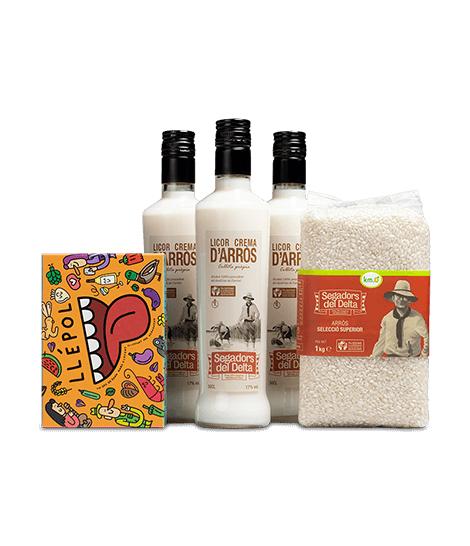 Licor de arroz 3 botellas + arroz marismas + juego llépol