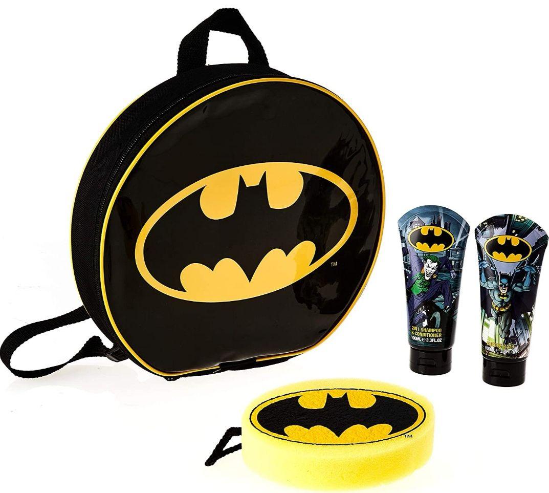 Pack bolsa de aseo Batman :baño de burbujas 300 ml + champú 2en1 100ml + esponja