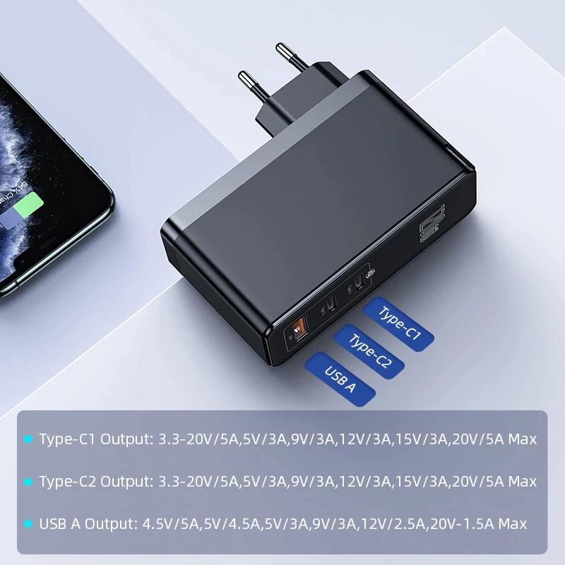 Baseus-cargador GaN de 120W, dispositivo de carga rápida, USB C, PD, QC4.0, QC3.0, portátil, para iPhone, Macbook, portátil, tableta