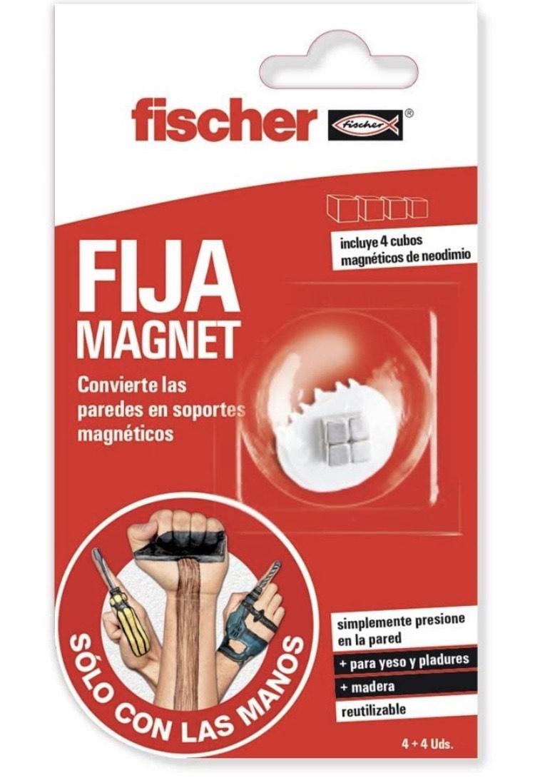 Fischer Soporte magnético para Colgar Objetos en la Pared sin taladros ni Herramientas (4 unidades)