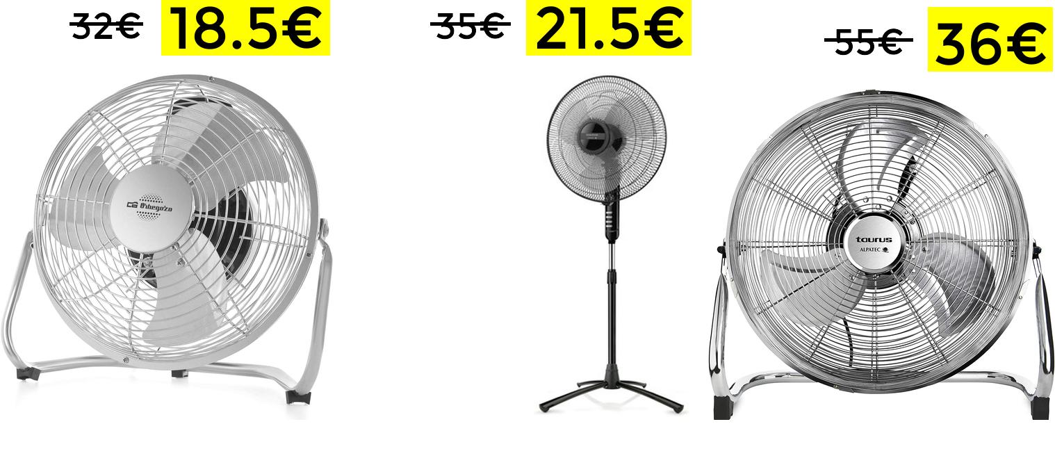 Selección de ventiladores rebajados desde solo 18.5€