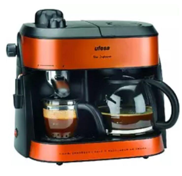 Cafetera semi-automática - Ufesa CK7355, 10/4 Tazas, 1800W, 1.25 l, Antigoteo