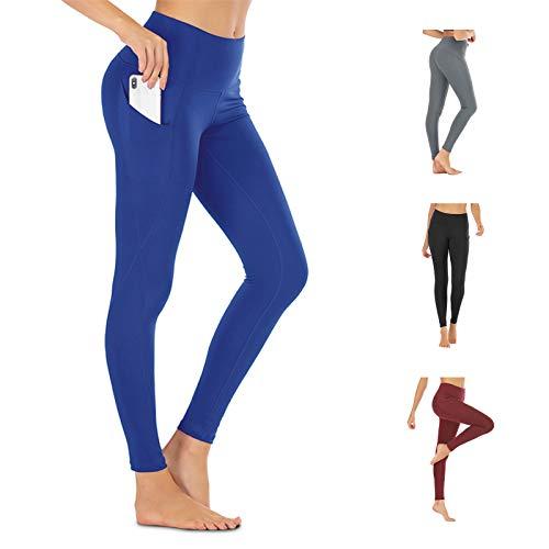 Leggings Mujer con 2 Bolsillos, Pantalón Deportivo de Mujer Cintura Alta Elásticos