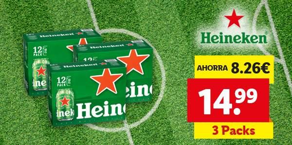 36 latas de Heineken por 14,99€ (+ cupones interesantes APP Lidl Plus)