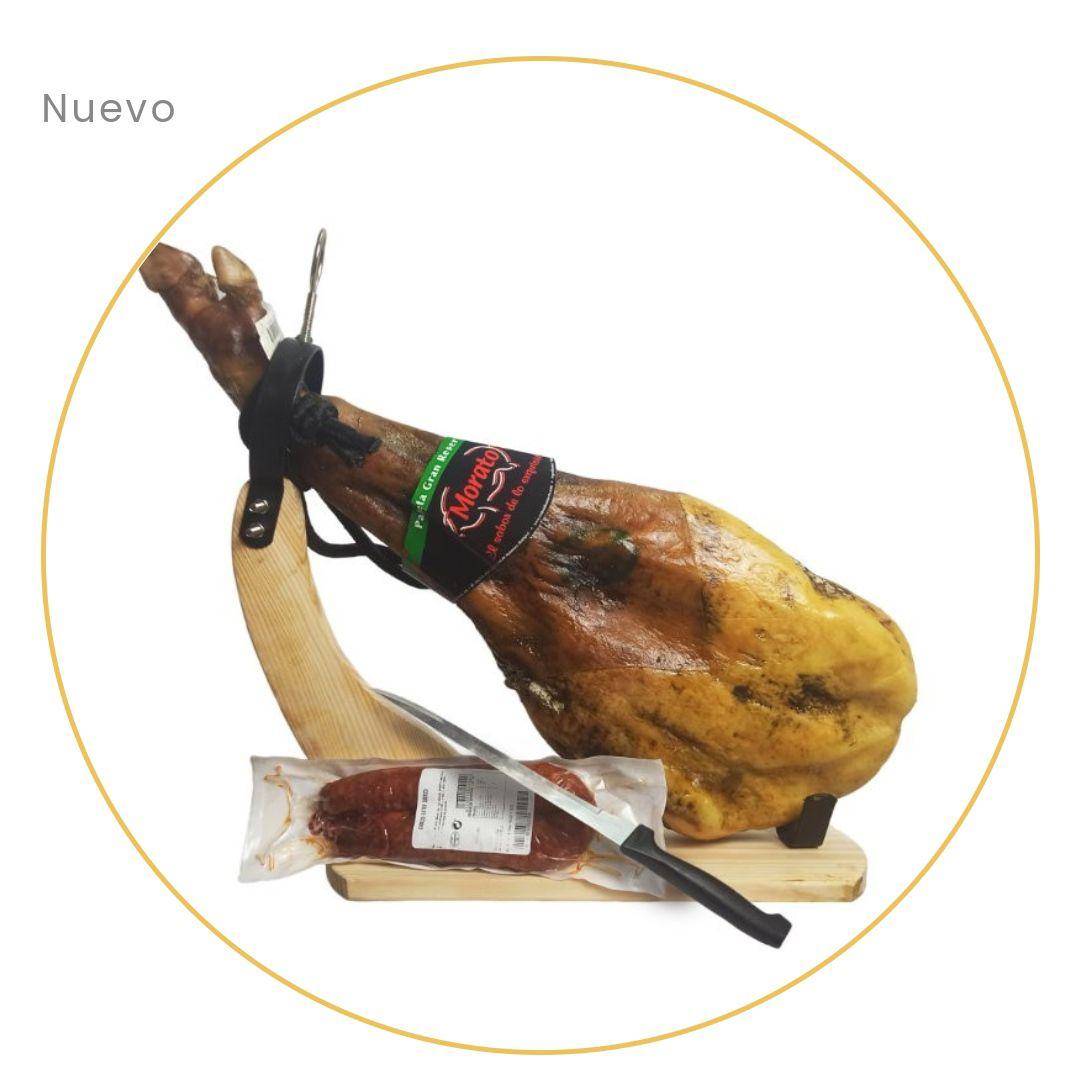 "Lote Paleta Gran Reserva 4.5-5 Kg ""Morato"" Extremadura + Jamonero y cuchillo +Chorizo ibérico ""Morato"" 340 g + Envío Gratis"