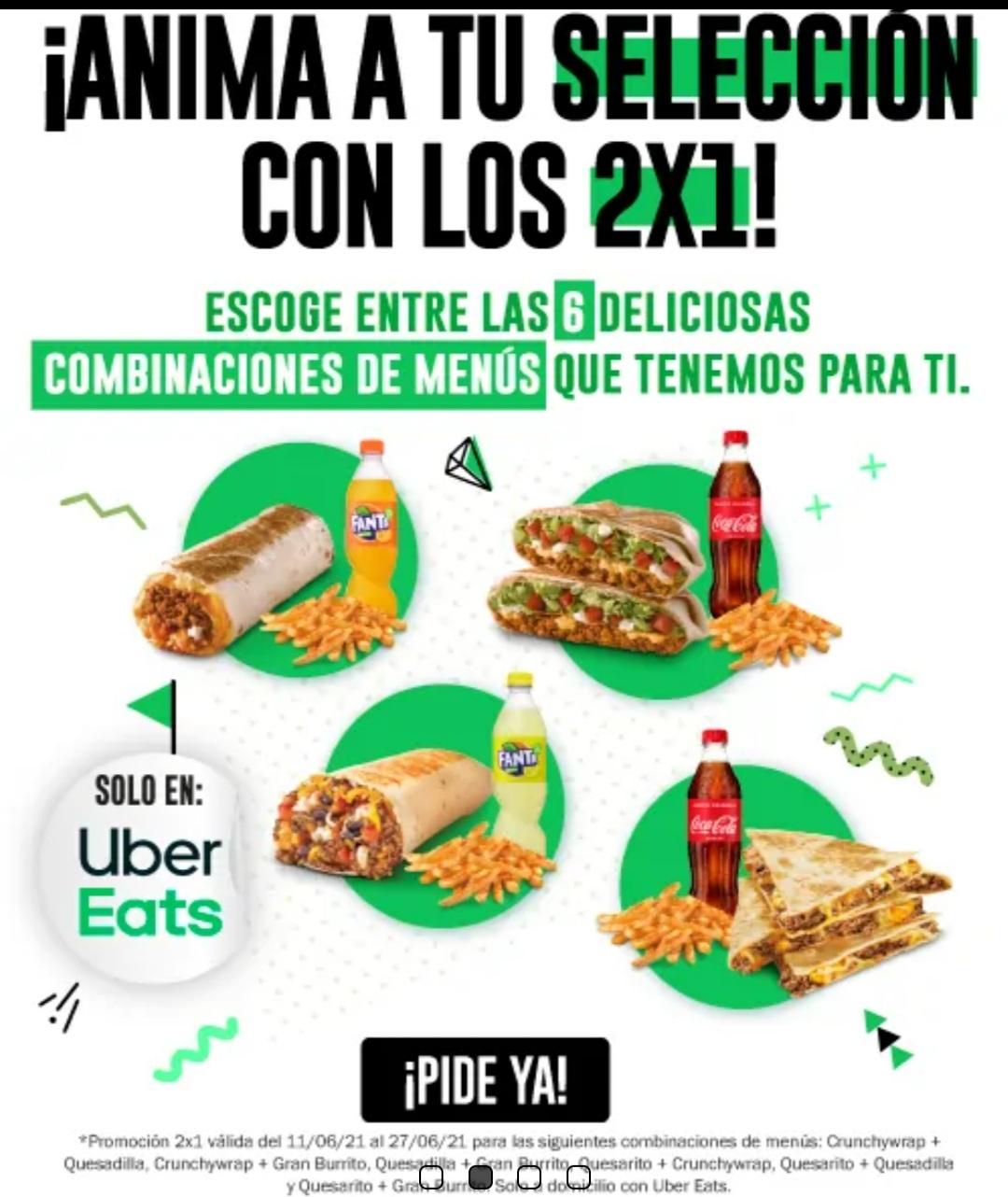 2x1 en 6 menus de Taco Bell pidiendo en Uber Eats