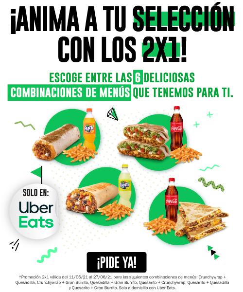 2x1 en 6 menús de Taco Bell pidiendo en Uber Eats