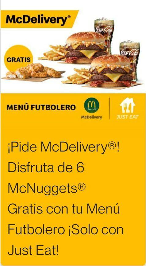 6 McNuggets gratis con tu Menú futbolero