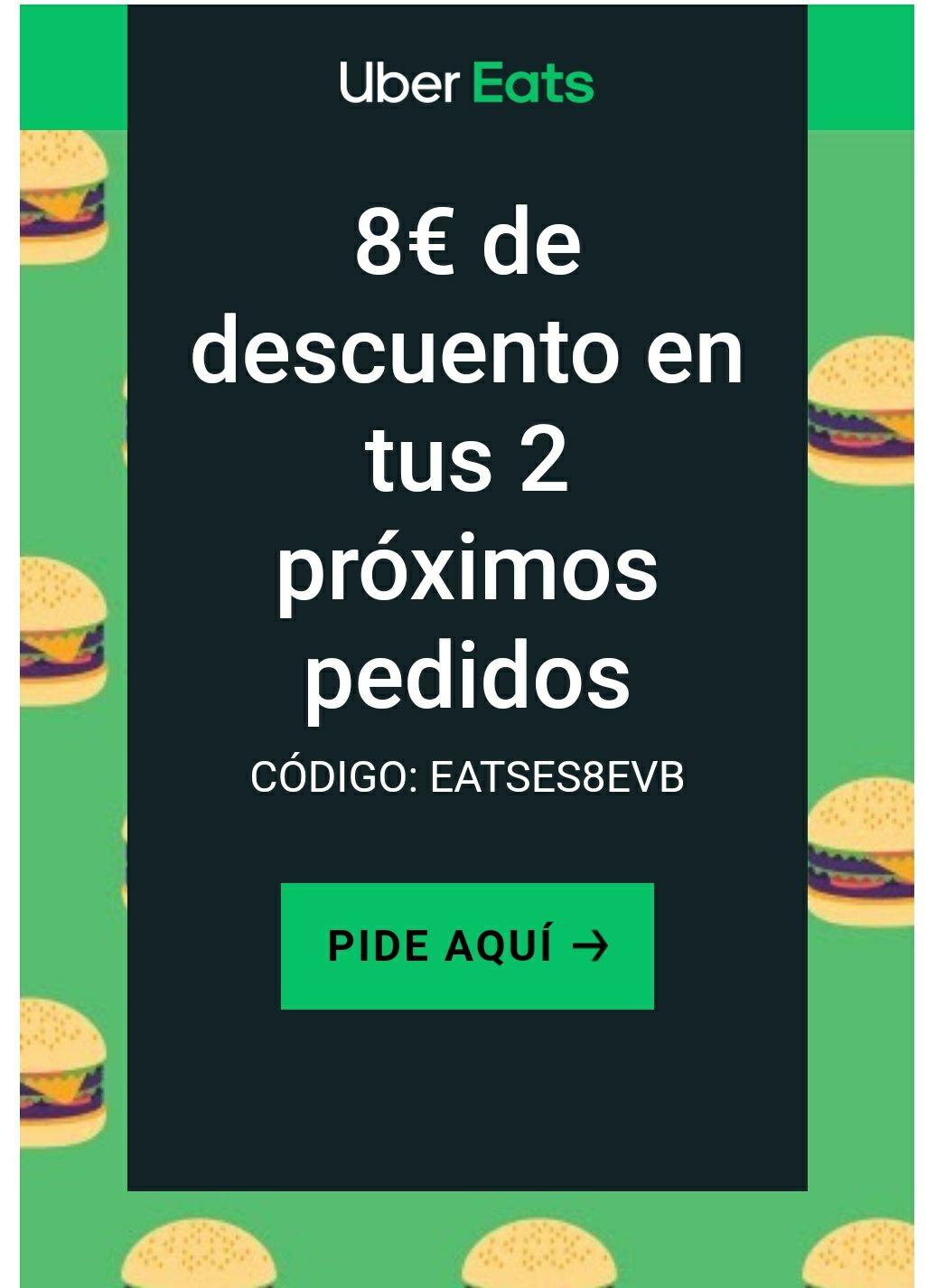 -8€ Uber Eats en 2 próximos pedidos