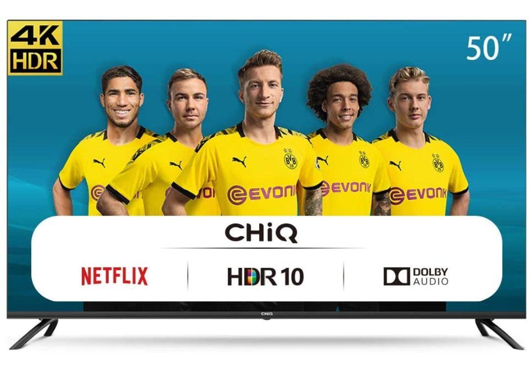 CHiQ Televisor Smart TV LED 50 Pulgadas 4K UHD, HDR 10/HLG, WiFi, Bluetooth