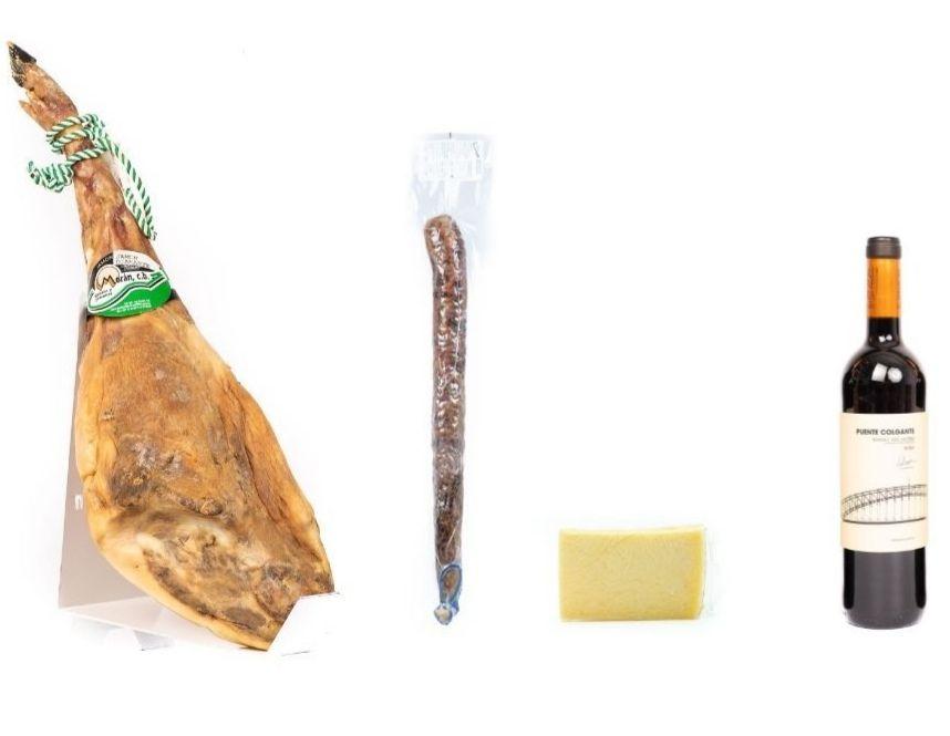 Lote jamón gran reserva Extremadura 8-8.5 kg + chorizo de bellota de 1kg + cuña de queso y botella de vino.