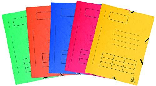 Exacompta Pack de 10 carpetas con goma, A4, multicolor