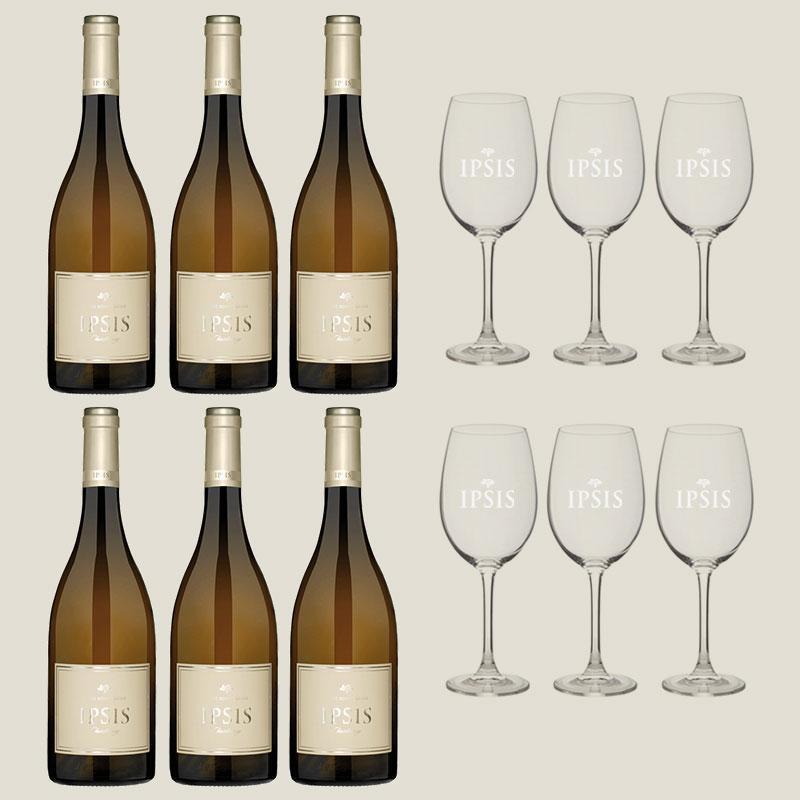 6 botellas vino Ipsis Chardonnay + 6 copas de regalo + envío gratuito