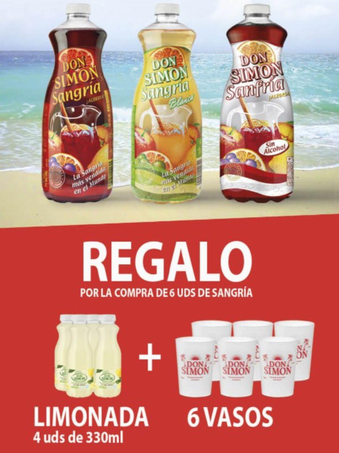 6x1,5L de Sangría + 4x330ml limonada + 6 vasos + Envío Gratis