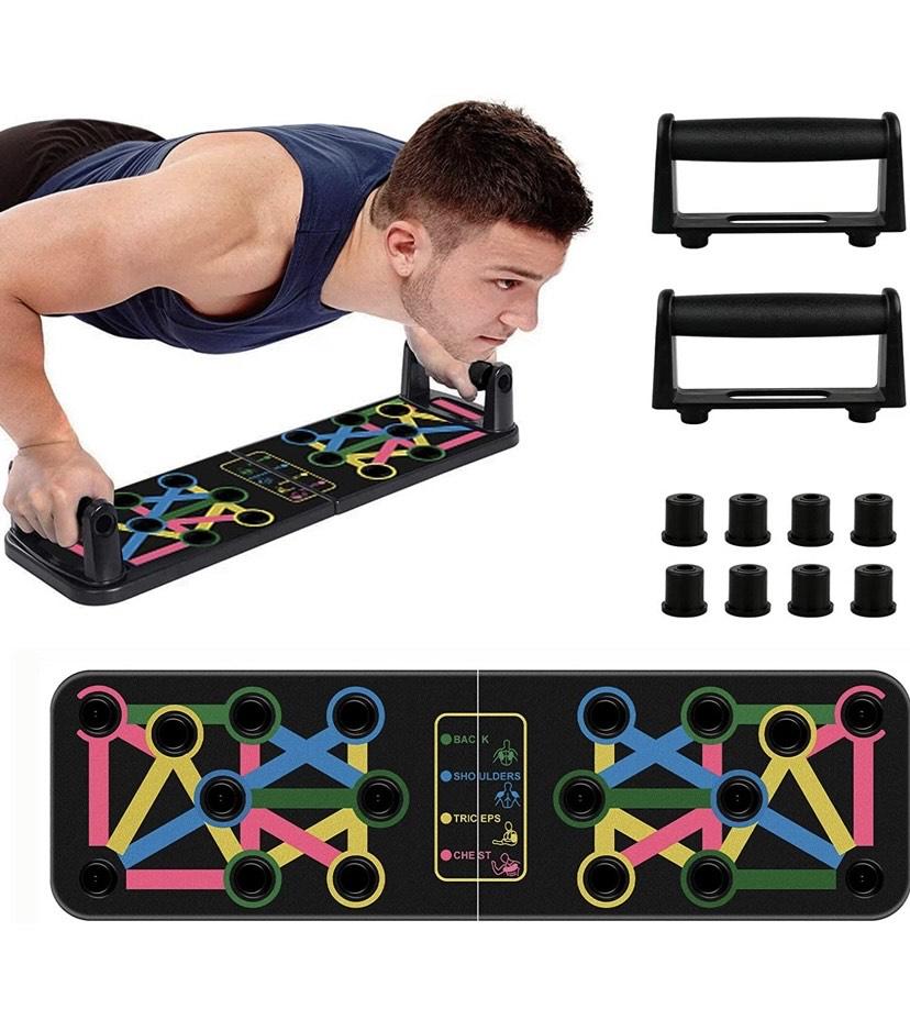Tabla de Flexiones, 14 en 1 Push Up Rack Board Multifuncional Plegable