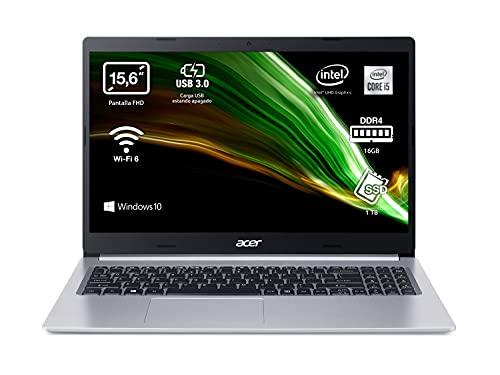 """Acer Aspire 5 A515-55 - Portátil 15.6"""" FullHD (Intel Core i5-1035G1, 16GB RAM, 1TB SSD, UMA Graphics, Windows 10 Home), Color Plata"""