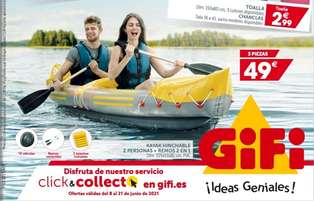 Kayak hinchable con remos (biplaza o monoplaza)