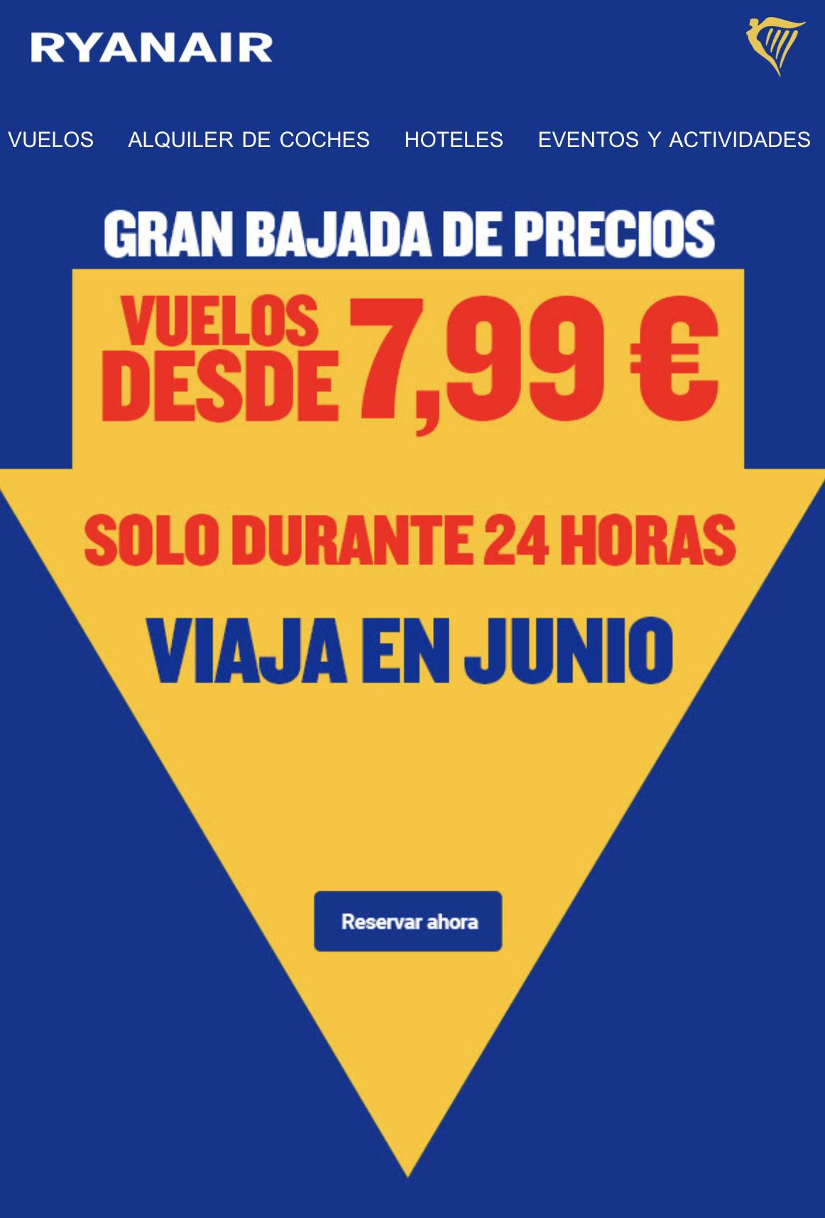 Vuelos Ryanair desde 4,99€