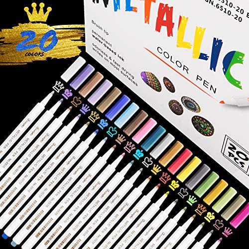 20 Rotuladores, colores brillantes Marcador Metálico para manualidades de bricolaje