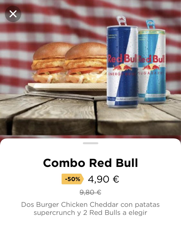 2x1 Menú Chicken Cheddar + Red Bull en Pomodoro (Glovo)