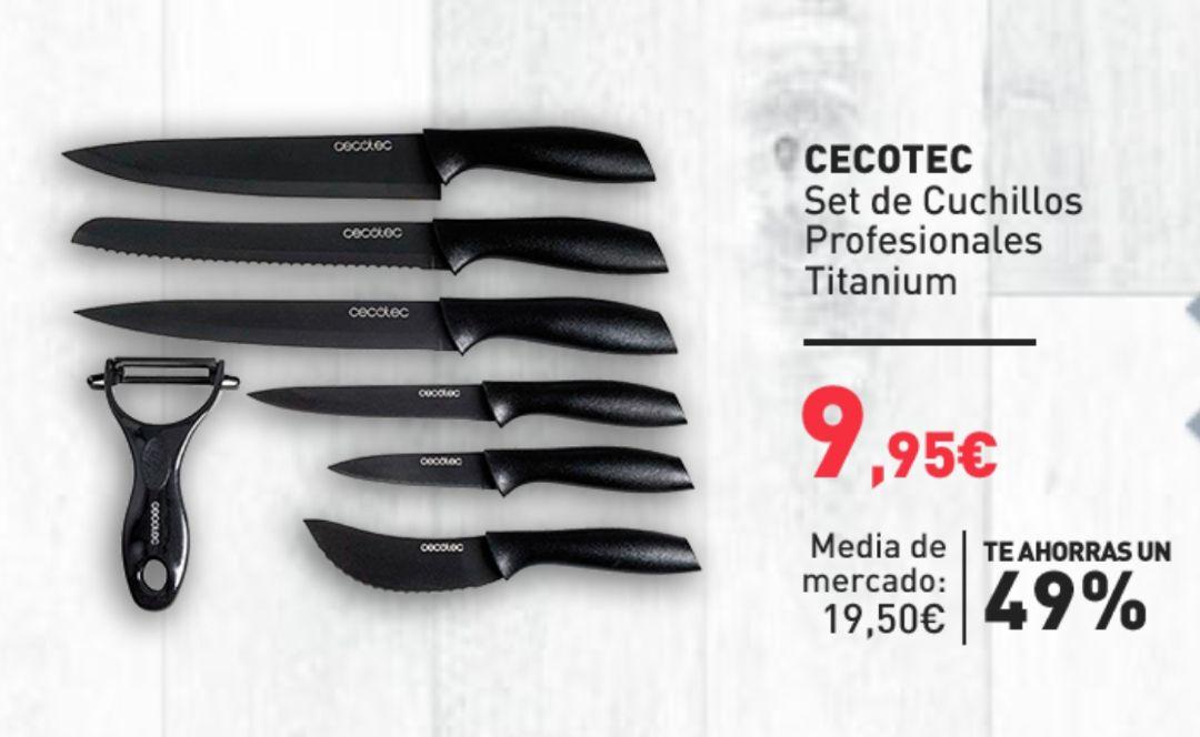 Cecotec Juego de Cuchillos Profesionales Titanium con recubrimiento cerámico