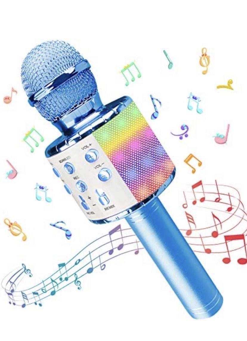 Microfono Inalámbrico Bluetooth Portátil con Altavoz y Luces LED
