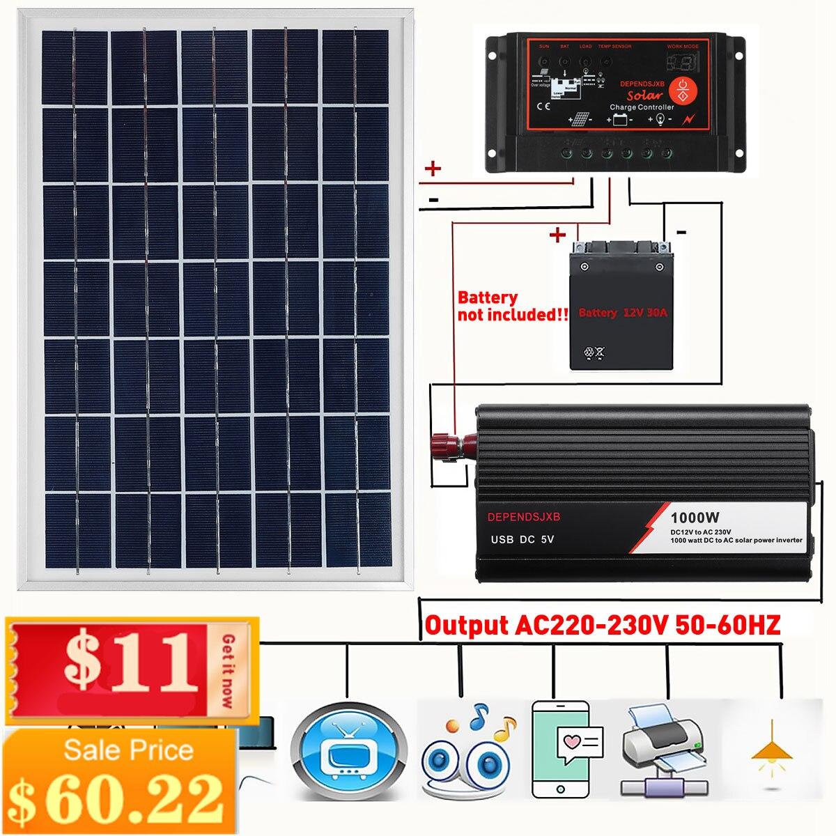 Sistema de Panel Solar de 18V 20W 1000W