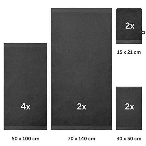 Set de 2 Toallas de Baño + 4 Toallas de Lavabo + 2 Toallas de Tocador + 2 Toallas para la Cara 100% algodón