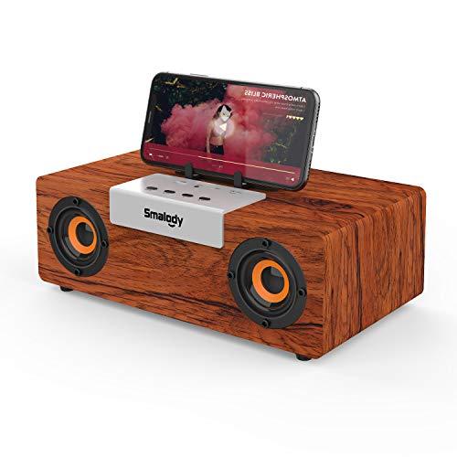 Altavoz Bluetooth Portátil de Madera 50 W Reproducción de 24 Horas, Graves Potentes, TWS, NFC, TF