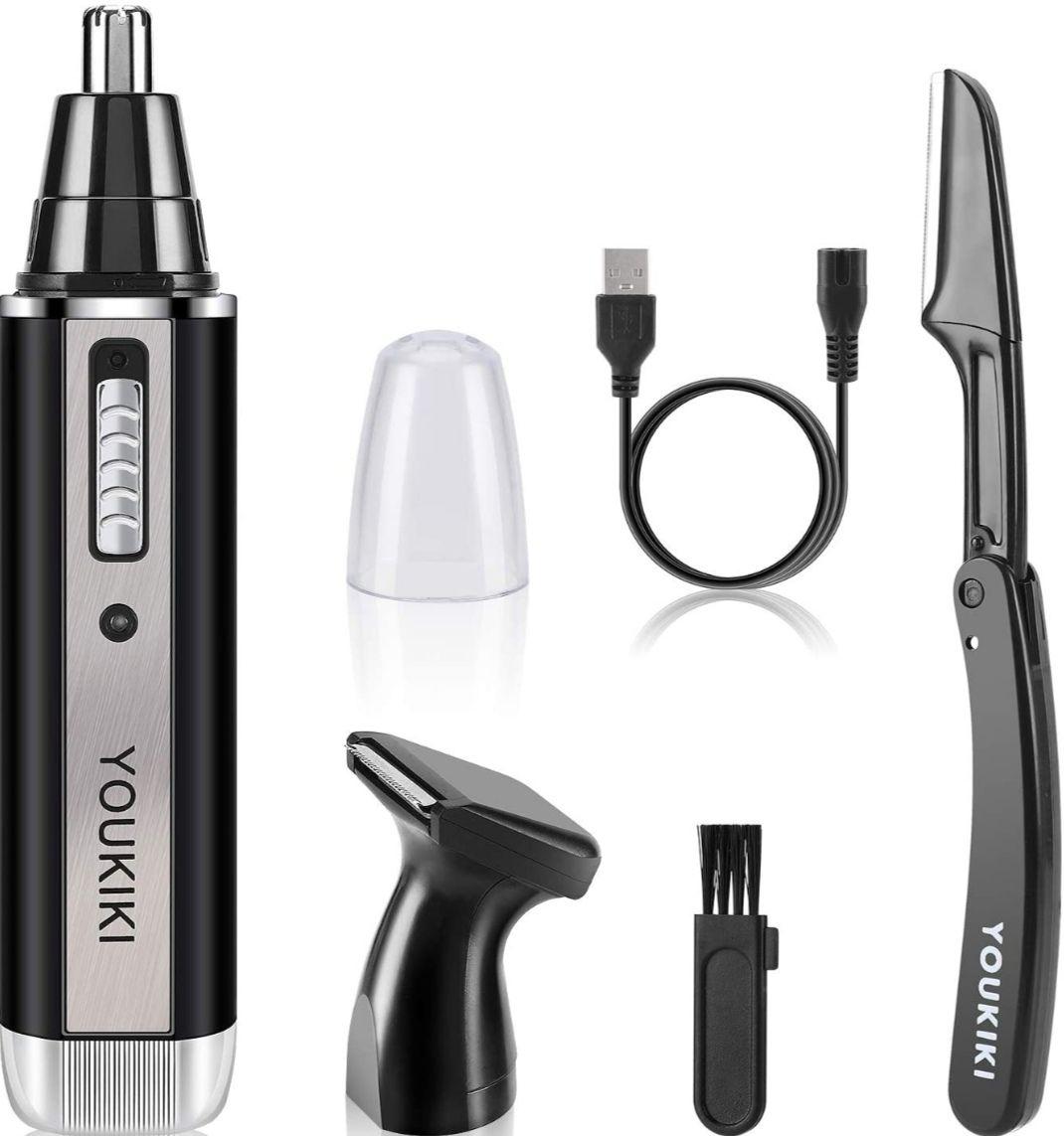 Cortapelos Nariz, Orejas, cejas, barba.. Con Cuchillas De Acero inoxidable + Accesorios. Carga USB