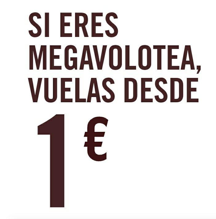 Vuelos a 1€ con Volotea para miembros Megavolotea