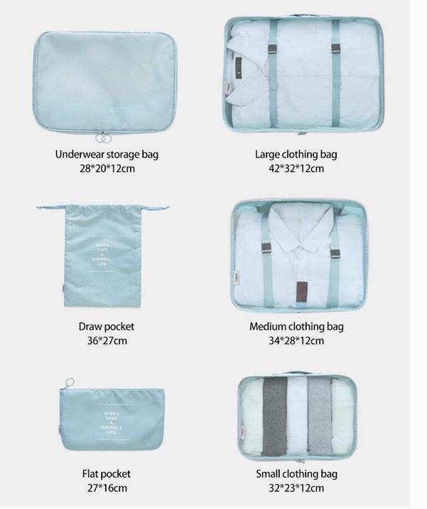 conjunto de bolsas de 6 piezas y diferentes tamaños para organizar maleta