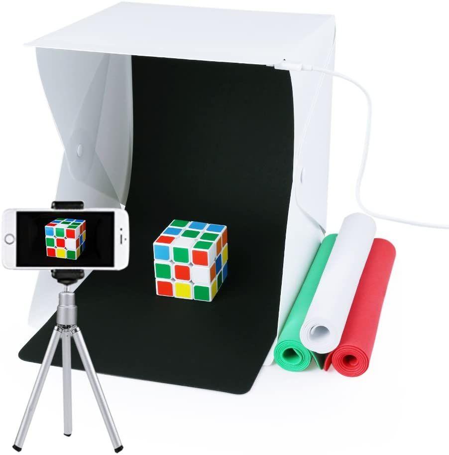 Caja de fotografía portátil con luz LED 24x22x24cm Mini Estudio de iluminación incl. 4 fondos