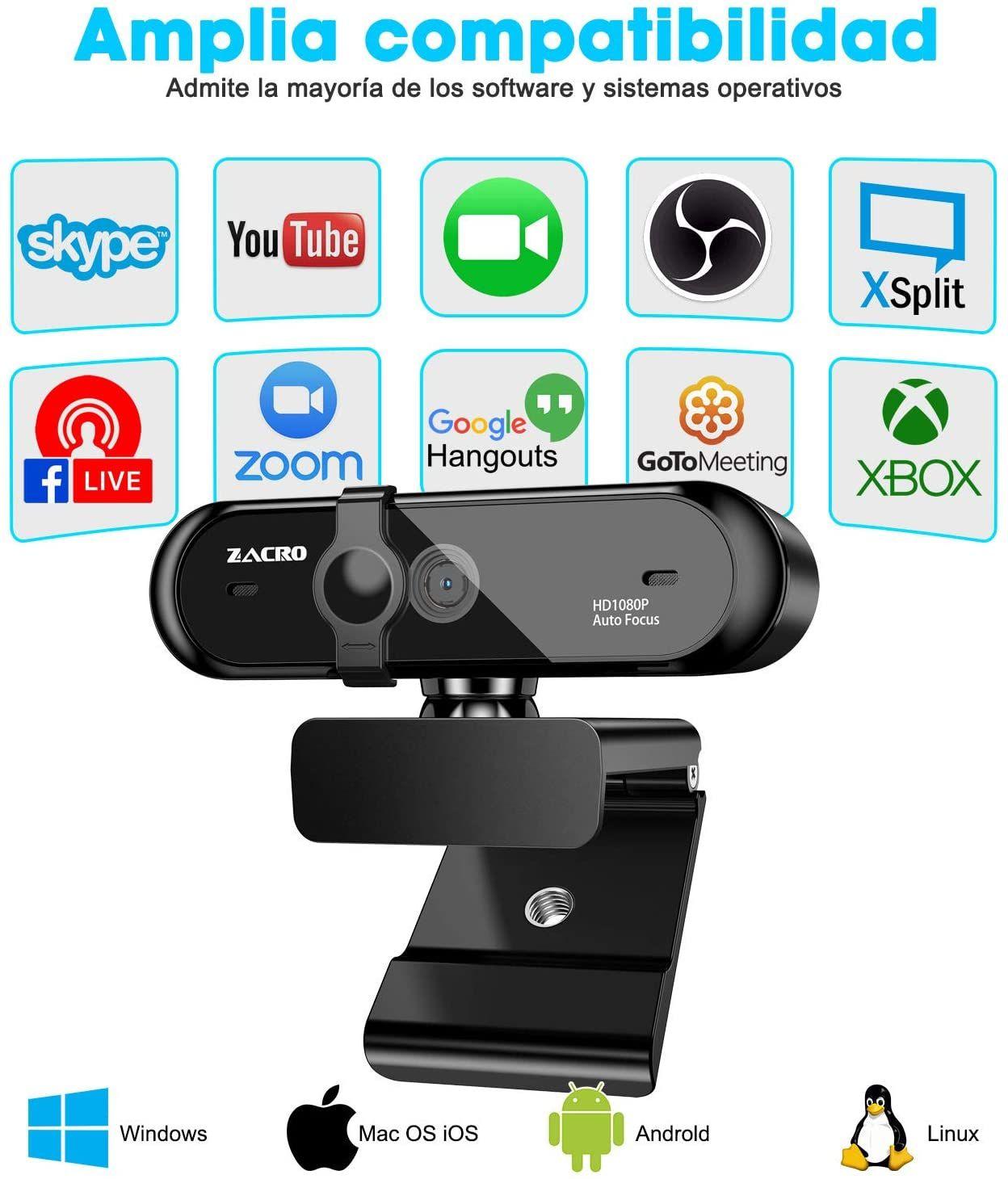 Webcam zacro 1080P con cubierta de privacidad y microfono aplicar cupon y usar codigo