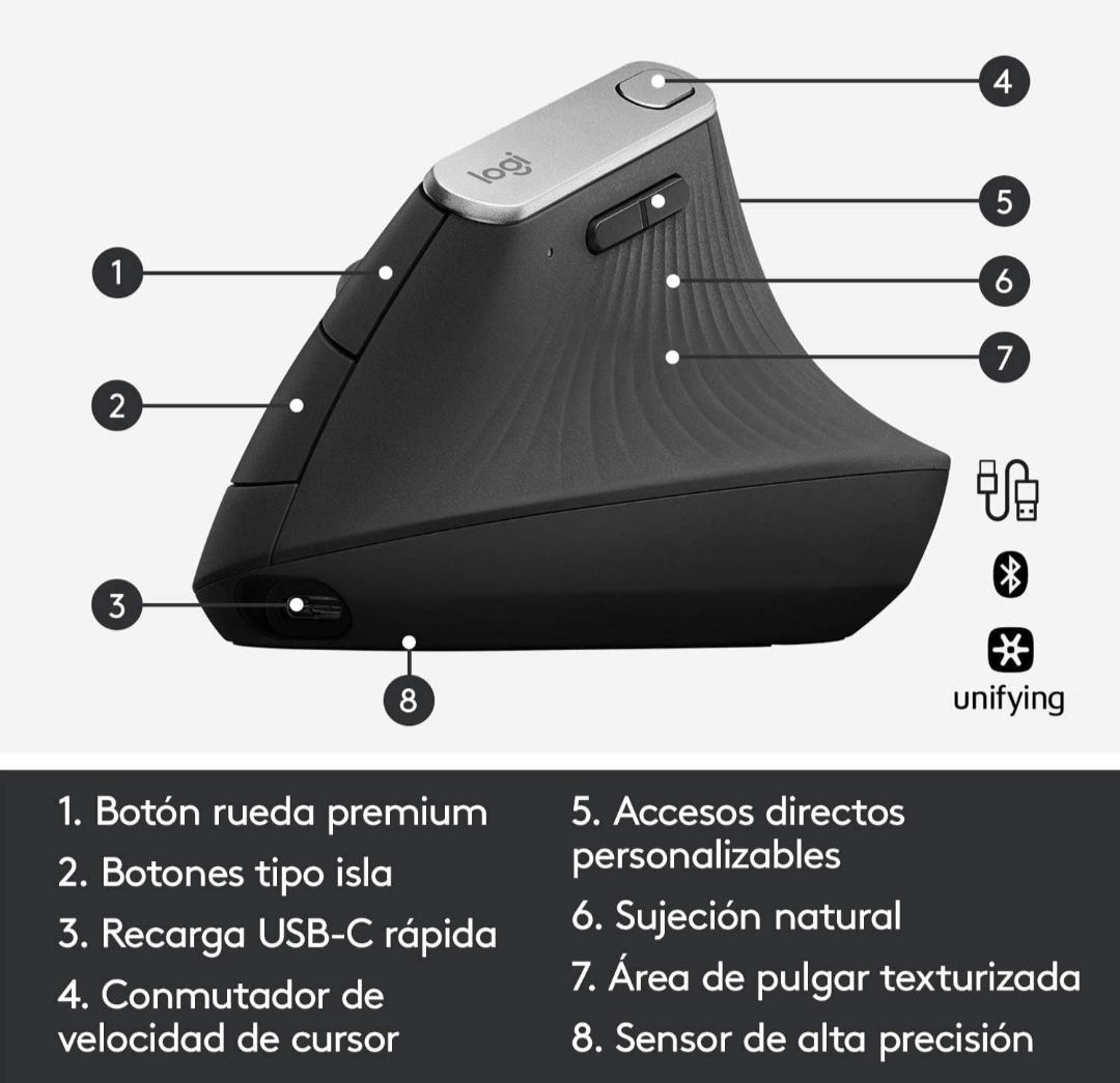 Logitech MX Vertical Ratón Inalámbrico